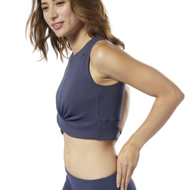 Crop top LES MILLS® Novelty Blue Femmes Studio
