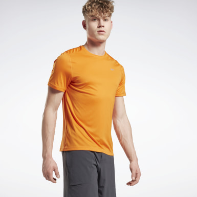Men Trail Running Orange Night Run Shirt