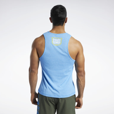 Men Cross Training Blue Reebok CrossFit® Games ACTIVCHILL+COTTON Tank Top