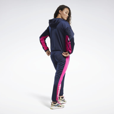 Women Fitness & Training Blue Linear Logo Hoodie Track Suit