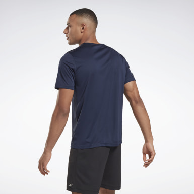 Men Trail Running Blue Night Run Shirt