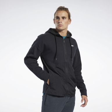 Men Fitness & Training Black Knit-Woven Hoodie