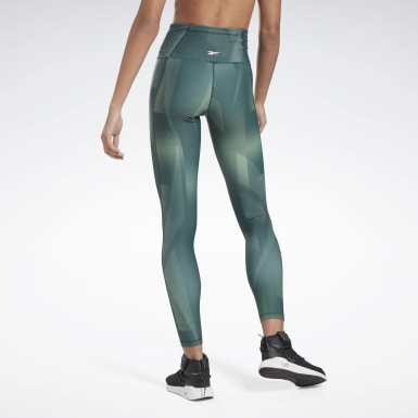 Women Studio Green Lux Bold High-Rise Vector Block Tights