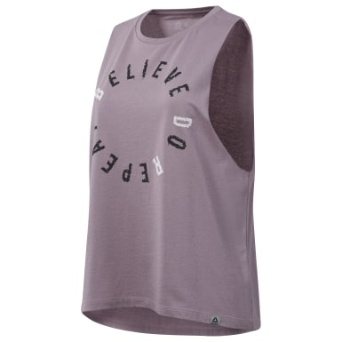 Women Training Purple Believe Muscle Tank Top