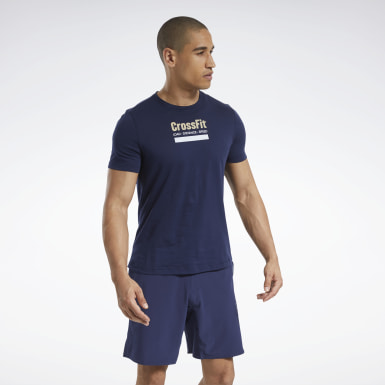 Men Cross Training Blue Reebok CrossFit® Prepare Tee