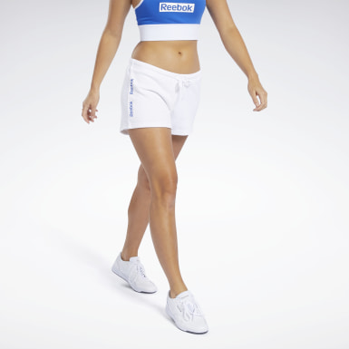 Women Fitness & Training White Training Essentials Linear Logo Shorts