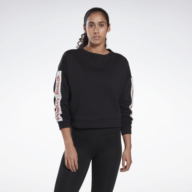Women Fitness & Training Black Linear Logo Crew Sweatshirt