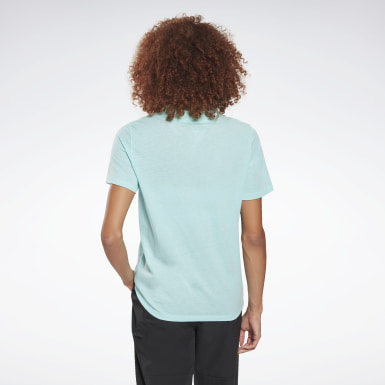 Women Fitness & Training Blue Reebok Identity Logo T-Shirt