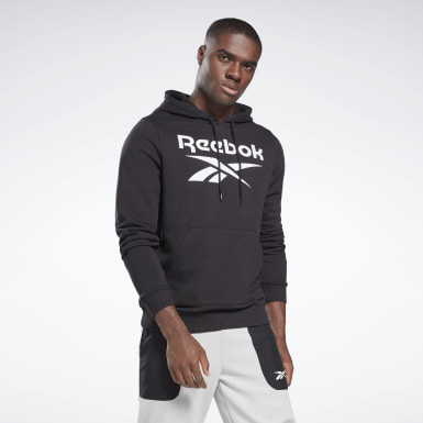 Men Training Black Reebok Identity Big Logo Hoodie