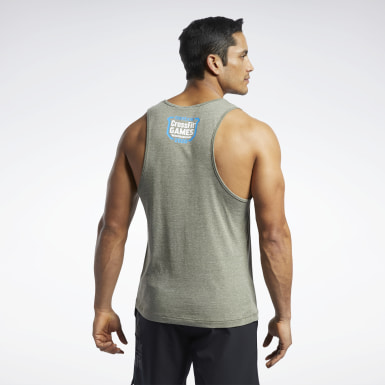 Men Cross Training Green Reebok CrossFit® Games ACTIVCHILL+COTTON Tank Top