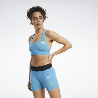Women Cross Training Blue Reebok CrossFit® Games MyoKnit Medium-Impact Bra