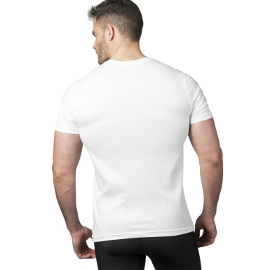 Men Training White Weightlifting Tee