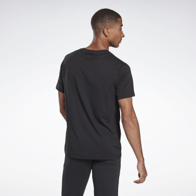 Men Fitness & Training Black Cotton Crew Tee
