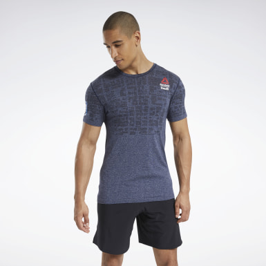 Men Cross Training Blue Reebok CrossFit® Games MyoKnit Tee