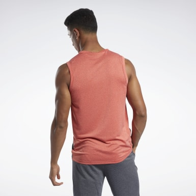Men Studio Red Workout Ready Melange Tank Top