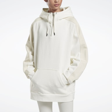 Women Fitness & Training White VB Oversize Hoodie