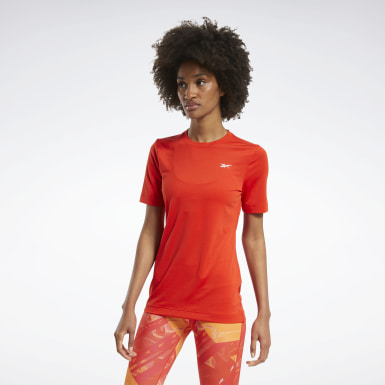 Women Fitness & Training Red Workout Ready Supremium Tee