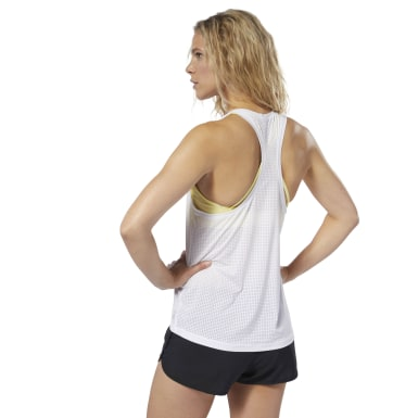 Women Studio White LES MILLS® Perforated Tank Top
