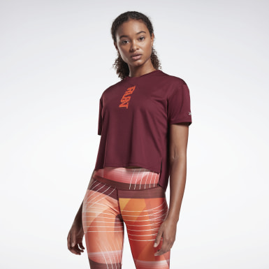 Women Trail Running Burgundy Run Essentials Run Fast Tee