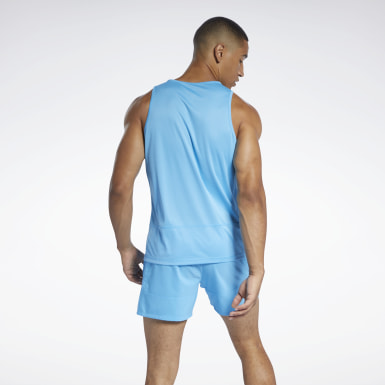 Men Running Blue Running Essentials Singlet