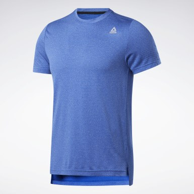Men Training Blue WOR MELANGE TECH TOP- REG