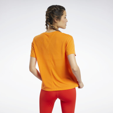 Women Yoga Orange Workout Ready Supremium Slim Fit Big Logo Tee