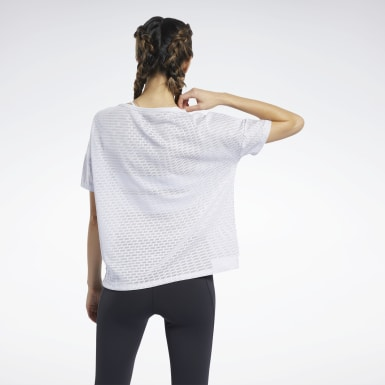 Women Fitness & Training White Perforated Tee