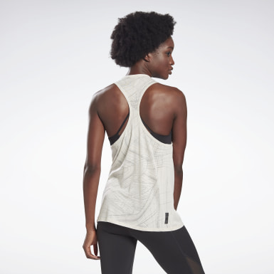 Women Studio White LES MILLS® Burnout Tank Top