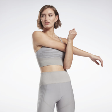 Frauen Yoga Studio Low-Impact Strappy Bra Grau