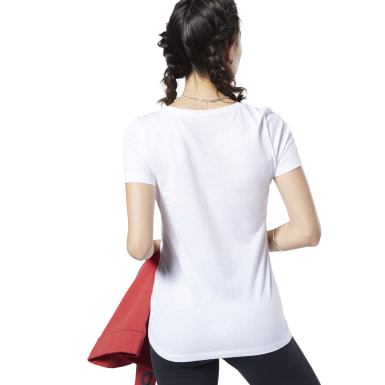 Remera Reebok Linear Read Scoop Neck Blanco Mujer Fitness & Training
