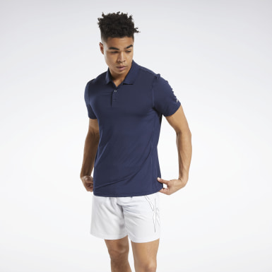 Men Training Blue Workout Ready Polo Shirt