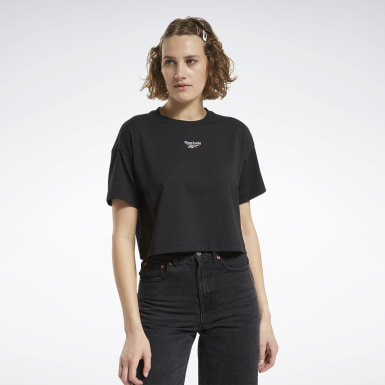 Women Classics Black Cropped T-Shirt