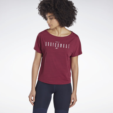 T-shirt LES MILLS® BODYCOMBAT® ACTIVCHILL Rosso Donna Studio