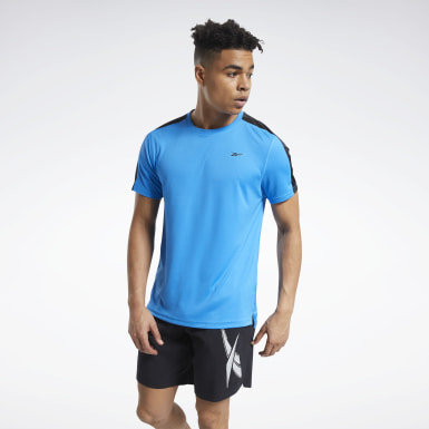 Men Cycling Blue Workout Ready Tech Tee