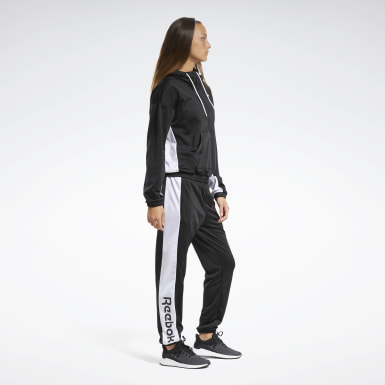 Women Fitness & Training Black Linear Logo Hoodie Track Suit