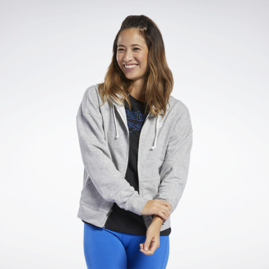 Women Fitness & Training Grey Training Essentials Full-Zip Hoodie