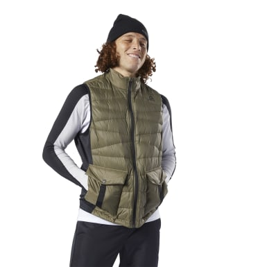 Men Outdoor Green Outerwear Thermowarm Hybrid Down Vest