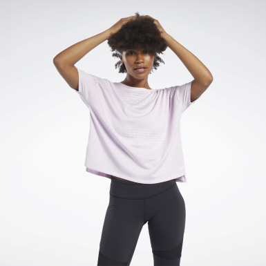 Women Yoga Pink Perforated Tee