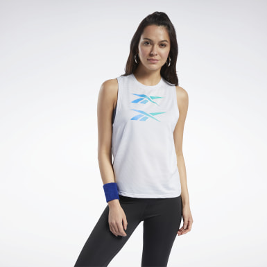 Women Training White Mesh Tank Top