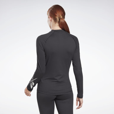 Women Hiking Black Thermowarm Touch Graphic Base Layer Long-Sleeve Top