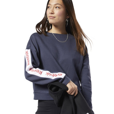 Women Fitness & Training Blue Training Essentials Logo Crew Sweatshirt