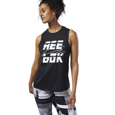 Camiseta sin mangas Meet You There Reebok Muscle Negro Mujer Fitness & Training