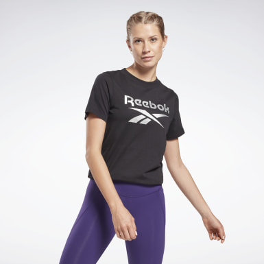 Women Fitness & Training Black Reebok Identity Logo T-Shirt