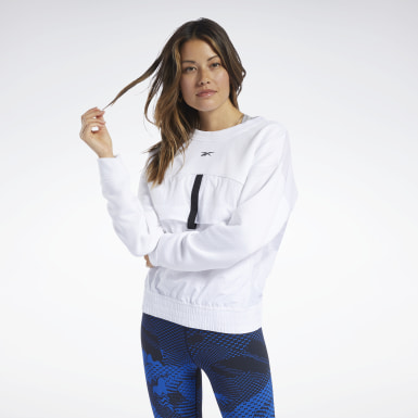Kvinder Fitness & Training White Midlayer Crew Sweatshirt