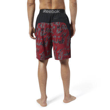 Men Swim Burgundy Reebok Jacquard E-Board Shorts