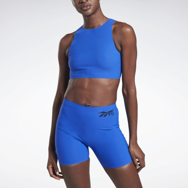 Women Cycling Blue VB Crop Top