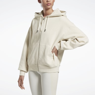 Women Training White VB Full Zip Hoodie