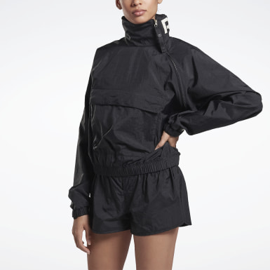 Women Training Black VB Woven Crew Jacket