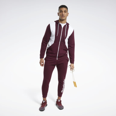 Men Fitness & Training Burgundy Training Essentials Linear Logo Track Suit