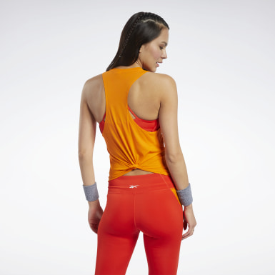 Women Cycling Orange Workout Ready ACTIVCHILL Tank Top